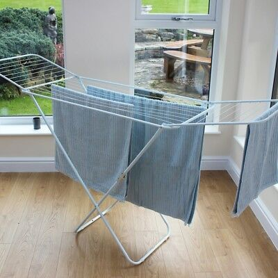 Large Winged Clothes Airer Indoor Outdoor Laundry Foldable Drying Dryer Rack 18m