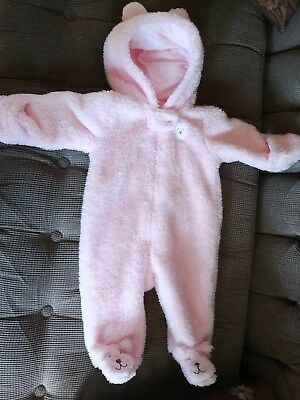 125f6103c NWT CARTERS PINK Sherpa Fleece Hooded Bunting Pram Snowsuit Baby ...