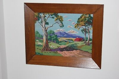 Authentic Australian hand stitched tapestry in 1940's solid English oak frame.