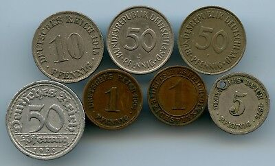 7 Germany Coins 1876-1979!