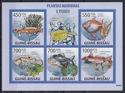 Guinea-Bissau Mi-Nr. 4291 - 4295 KB / Sheet **, Fische / Fishes (14 ME)