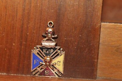 Antique KNIGHTS OF PYTHIAS ENAMELED Watch FOB To Mayor Bookwalter Indianapolis