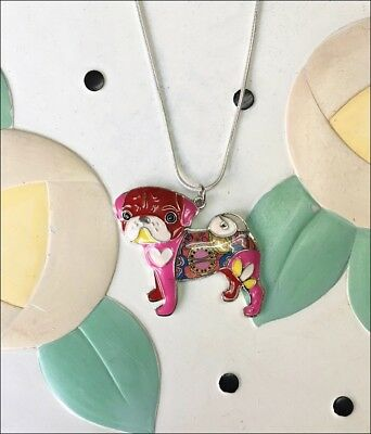 Pug Enamel Charm Necklace - NEW - FREE SHIPPING