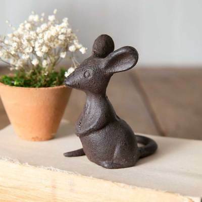 "Cast Iron Mouse Figurine 4"" x 3"" Farmhouse Country Garden"