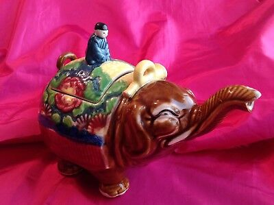 "Vintage Rare Brown Banko Ware Elephant Tea Pot-Made in Japan 8 3/4"" Nose to Tail"