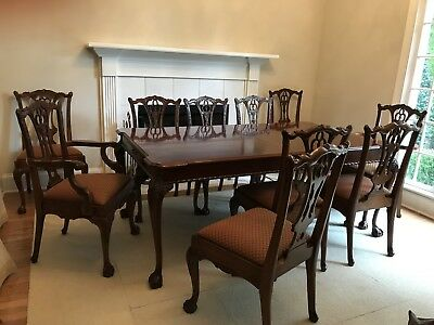 A Link Taylor Mahogany Dining Table & 10 Ardley Hall Chairs - Chippendale Style