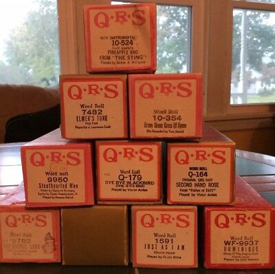 Lot Of 10 Vintage Player Piano Word Song Rolls Q.R.S.