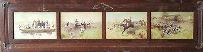 Vintage Oak Carved Equestrian Panel Of 4 Fox Hunting Paintings Signed Blinks