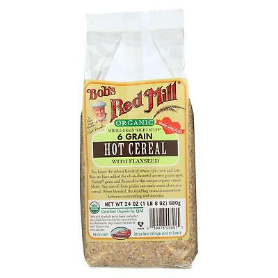Bob's Red Mill Organic 6 Grain Hot Cereal with Flaxseed - 24 oz - Case of 4