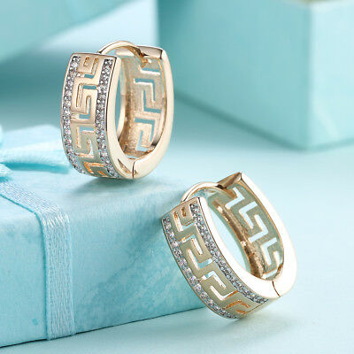 ITALY 18K Gold Plated Greek Earrings Huggie Earring made with Swarovski Crystals