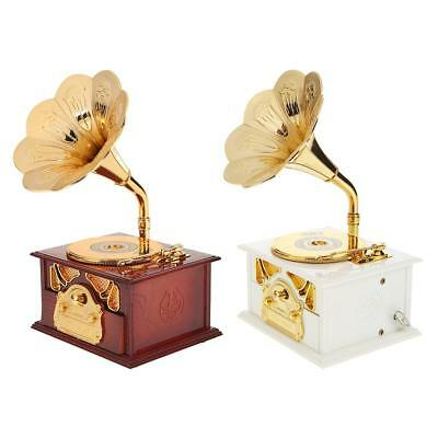 Antique Phonograph Hand Crank Music Box Christmas Gifts Classic Ornament Decor