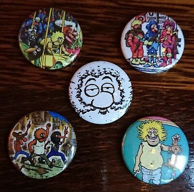 5 * The Fabulous Furry Freak Brothers set of 5 weed gilbert shelton Badge 25mm
