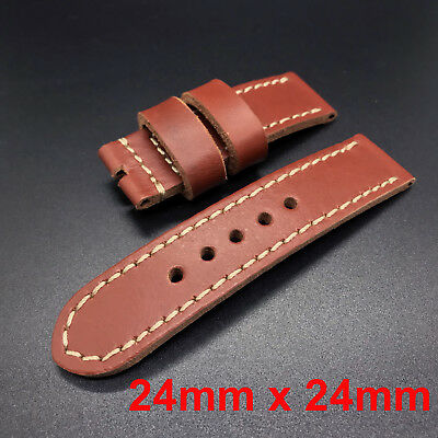 24mm Cow Leather Strap Band for 44mm Panerai Luminor Watch Reddish Brown Red New