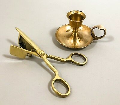 Antique brass small chamberstick candle holder snuffer wick trimmer Victorian