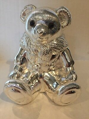 "NEW rare Ralph Lauren Bear Coin Bank ""POLO""  Silverplated HEAVY"