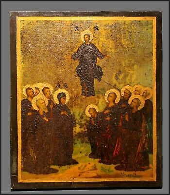 Antique 1800's Orthodox Hand Painted Wood Icon Ascension Of Jesus Christ