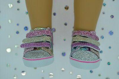 "Dolls Shoes For 17""Baby Born~18""American Girl MULTI-COLOUR SPARKLY RUNNERS"