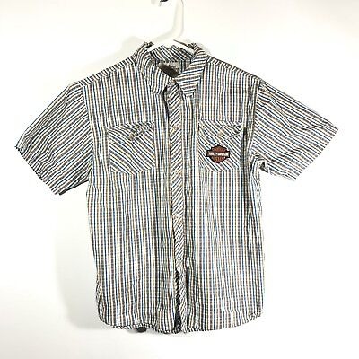 Harley Davidson Boys 100% Cotton Button Front Size 12-14 Youth