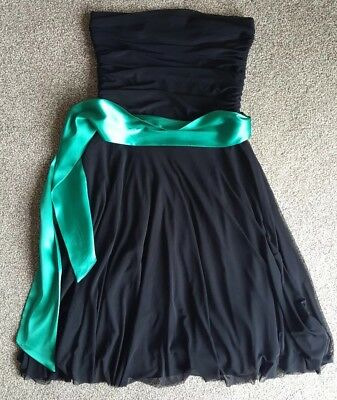 Ladies Red Herring strapless Black Dress With Green Ribbon Belt - Size 10
