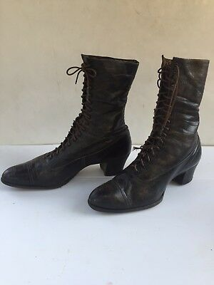 Vintage Black Leather Womens Lace Up Ankle Boots Size 6.5 Witch Goth Victorian