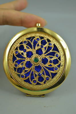 Decor Collectible Copper Carve Hollow Out Flower Rare Usable Mirror Chinese Gift