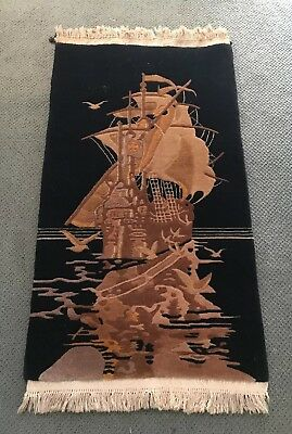 "Antique chinese 1936 Nichols Wool Rug 30"" X 53"" Black Tan Pictorial Ship"