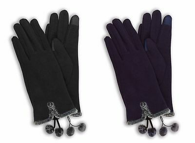 Women's Fashion Faux Fur Lined Winter Out Door Warm Thermal Touch Screen Gloves