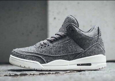 pick up 9f85a d53b0 Nike Air Jordan 3 III Retro WOOL Premium Dark Grey Sail White 854263-004 Sz