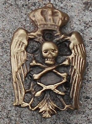 Yugoslavia Ww2 - Serbian Chetnik Skull And 2 Eagles Cap Badge Bronze (Replica) B
