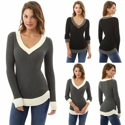 UK Womens V Neck Knitted Long Sleeve Jumper Sweater Ladies Casual Knitwear Tops