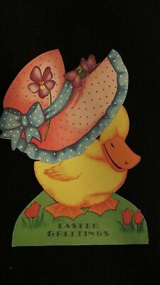 """Vintage Duck Wearing """"a Gay"""" Easter bonnet Card 1930S"""