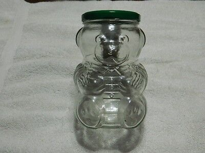 Vintage Glass Teddy Bear Jar Bank6""