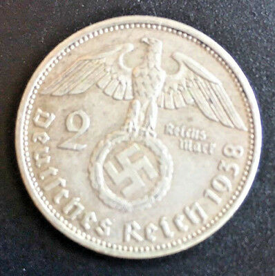1938 A 2 mark German WWII Silver Coin Third Reich Reichsmark 5*