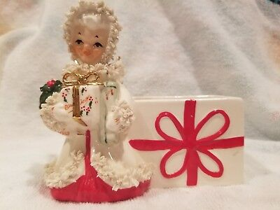 Vintage Christmas Planter With Girl Very Cute