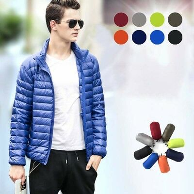 Winter Windproof Mens Warm Down Lightweight Jacket White Duck Down Packable Coat