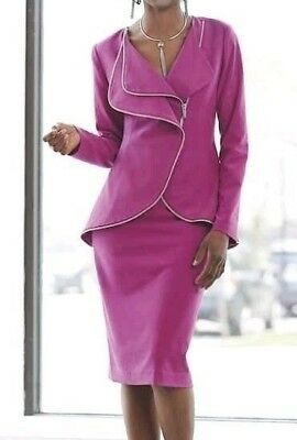 Ashro Berry Fuchsia Front  Zip Up and Zip Trim Skirt Suit Size 8 14 16