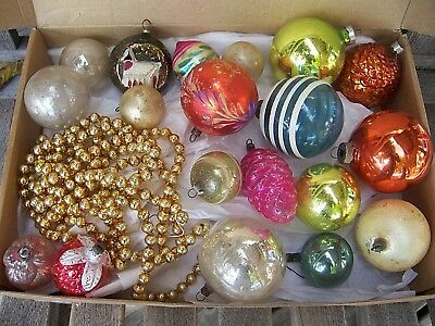 Mixed Lot Antique & Vintage Glass Ornaments  Germany ~ Japan