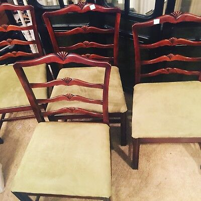 4 Chippendale Style Vintage Mahogany Ladder Back Dining Chairs