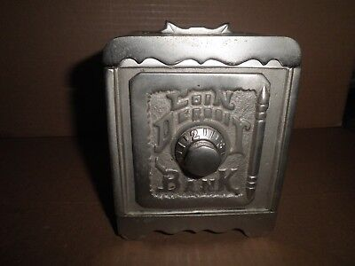 Nice old cast iron Coin Deposit Safe combination lock safe still bank c.1920s