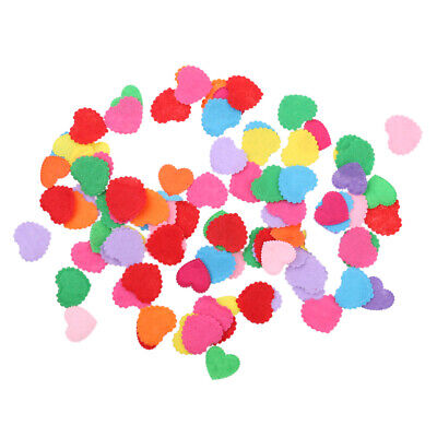 100pcs Heart Shape Felt Appliques Mixed Colors Die Cut Cardmaking Craft 20mm