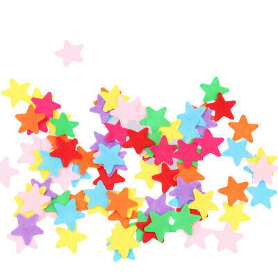 100pcs Star Shape Felt Appliques Mixed Colors Die Cut Cardmaking Craft 20mm