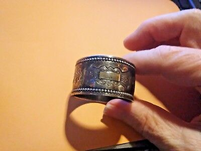 Silver Tone Napkin Ring Etched with Beaded edge SILVER PLATE ? non magnetic
