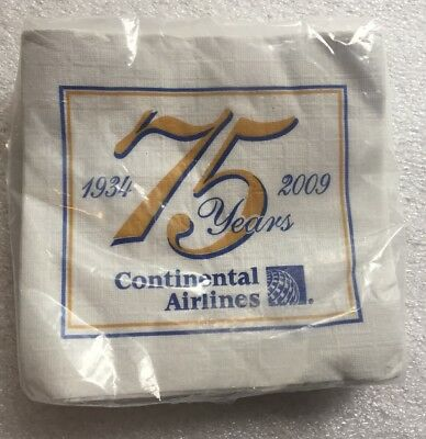 Continental Airlines 75th Anniversary Paper Cocktail Napkins Unopened