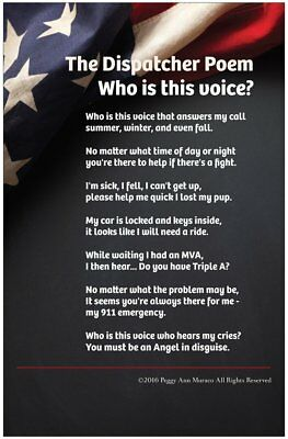 911 Police Gift Dispatcher Law Enforcement Poster 11 x 17 Glossy Poem w/ flag