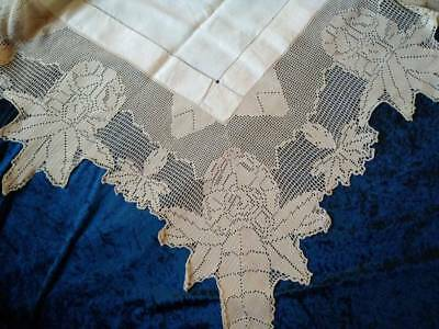 MARY CARD? - Antique Filet Hand Crochet  'Rhododendron' Flowers Large Tablecloth