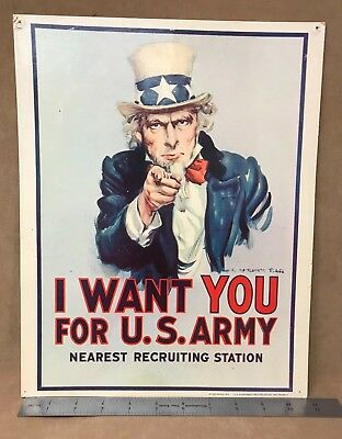 """Vintage Uncle Sam """"I Want You For U.S. ARMY"""" 1974 Original Recruiting Poster"""