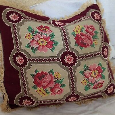 """Antique? vtg throw pillows 2pc feather filled tapestry fringe VICTORIAN 16"""" CHIC"""