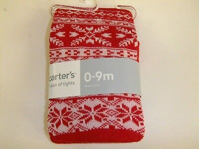 Carter's 1 Pair of Tights Thick Christmas Winter Fair Isle Baby Girl 0-9 mo NEW
