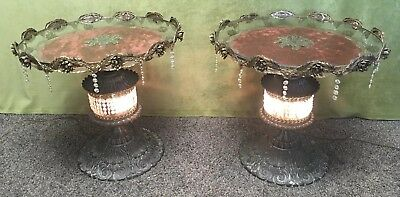 """24"""" Pair Antique Nouveau Vintage French Ormolu Brass Nightstands End Table Lamps"""