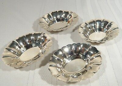 4 Vintage Solid STERLING  Silver Fluted  NUT / Candy Dishes BOWLS Lipman Bros.